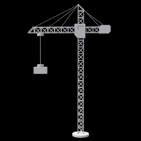 Tower construction building crane. 3d render low poly isolated on white background Banque d'images - 131159037