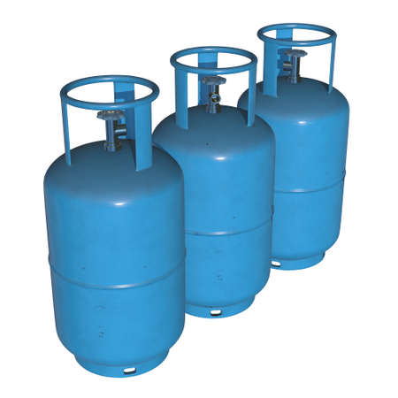 Gas cylinder lpg tank gas bottle. Propane gas-cylinder balloon. Cylindrical container with liquefied compressed gases with high pressure and valves 3d render isolated on white background