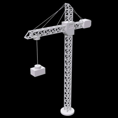 Tower construction building crane. 3d render low poly isolated on white background Banque d'images - 131163639