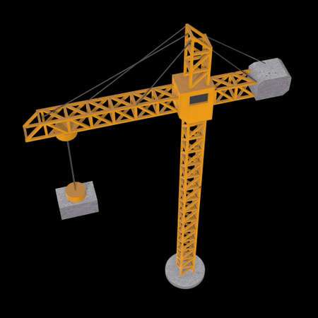 Tower construction building crane. 3d render low poly isolated on white background Banque d'images - 131163640