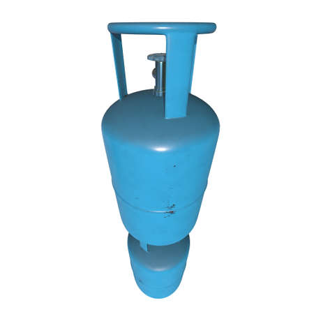 Gas cylinder lpg tank gas bottle. Propane gas cylinder balloon. Cylindrical container with liquefied compressed gases with high pressure and valves 3d render isolated on white background