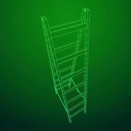 Step ladder. Wireframe low poly mesh vector illustration
