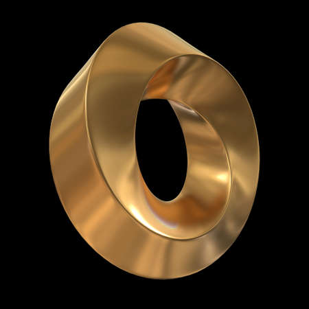 Mobius strip ring sacred geometry. Spatial figure with upturned surfaces. Optical illusion with dual circular contour. 3d render on black background Stock Photo