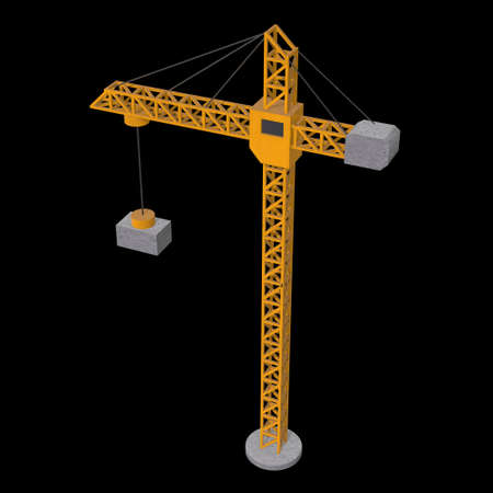Tower construction building crane. 3d render low poly isolated on white background Banque d'images - 131289366