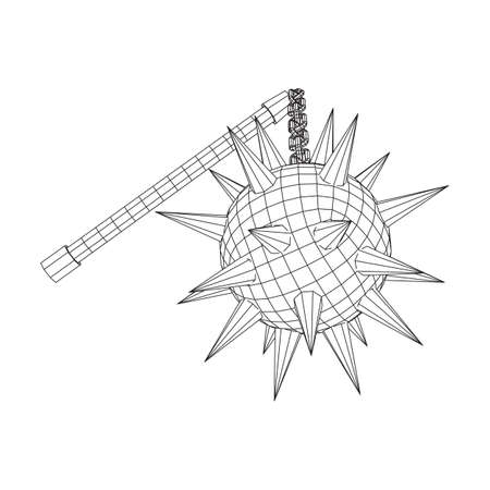 Medieval chained mace ball. Wireframe low poly mesh vector illustration. Stok Fotoğraf