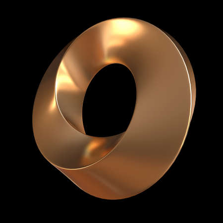 Mobius strip ring sacred geometry. Spatial figure with upturned surfaces. Optical illusion with dual circular contour. 3d render on black background