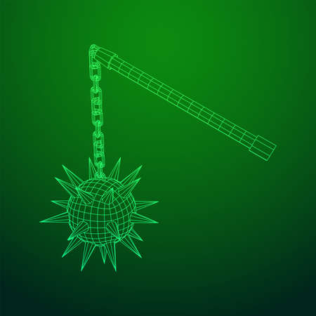 Medieval chained mace ball. Wireframe low poly mesh vector illustration.  イラスト・ベクター素材