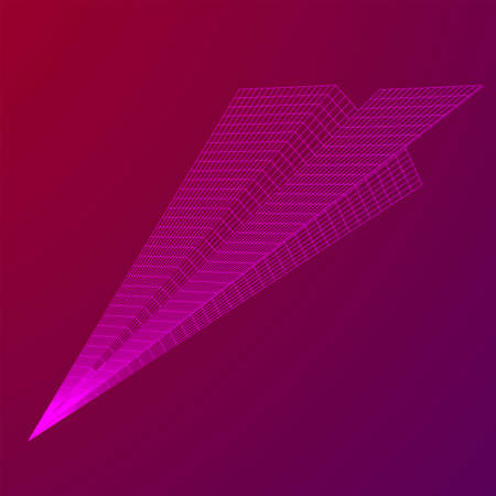 Paper plane flying. Abstract image of a aircraft origami. Wireframe low poly mesh vector illustration