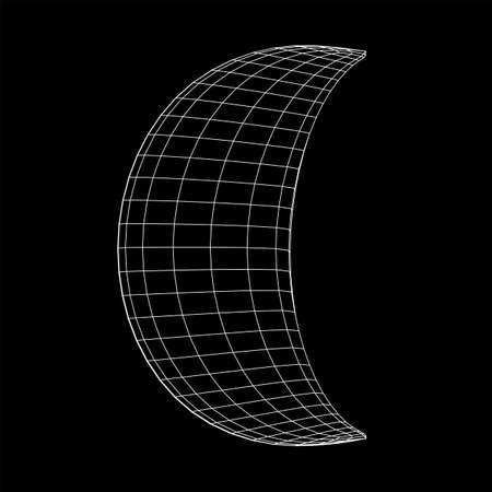 Crescent moon. Abstract polygonal wireframe moon illustration. Night symbol. Arabic islamic muslim ramadan design Stok Fotoğraf
