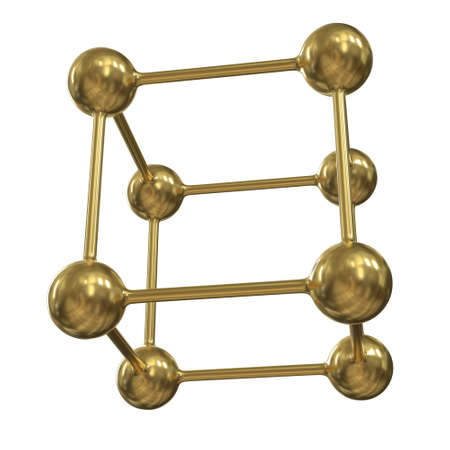 Gold Molecule Grid. Connection Structure. 3d render illustration isolated on white background. Science and medical healthcare concept