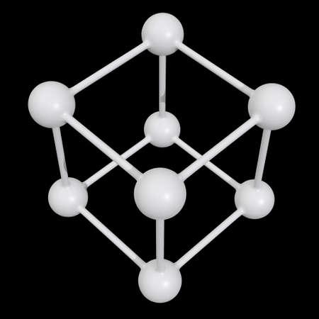 Molecule Grid. Connection Structure. 3d render illustration on black background. Science and medical healthcare concept