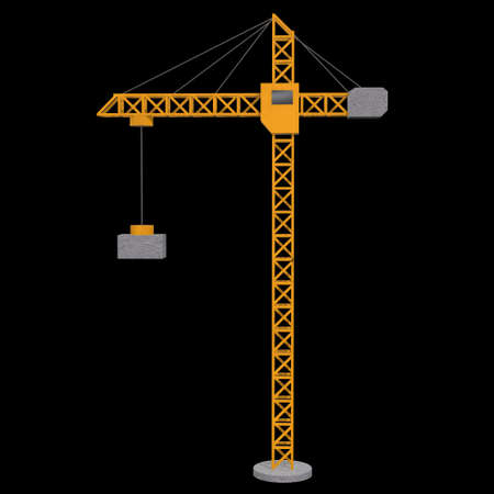 Tower construction building crane. 3d render low poly isolated on white background