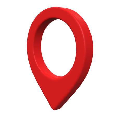 Geo map pin mesh. Place symbol GPS pictogram. 3d render illustration isolated on white background