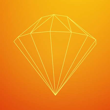 Diamond wireframe low poly mesh vector illustration.  イラスト・ベクター素材