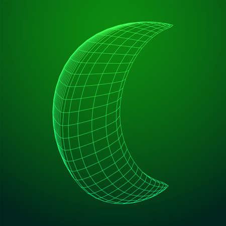 Crescent moon. Abstract polygonal wireframe moon illustration. Night symbol. Arabic islamic muslim ramadan design Çizim