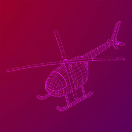 Helicopter aircraft vehicle. Wireframe low poly mesh vector illustration.