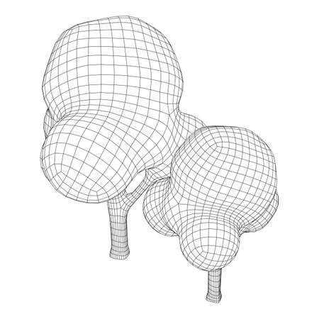 Mesh image of trees. Low poly background. Eco vector. Wireframe low poly mesh vector illustration Illusztráció