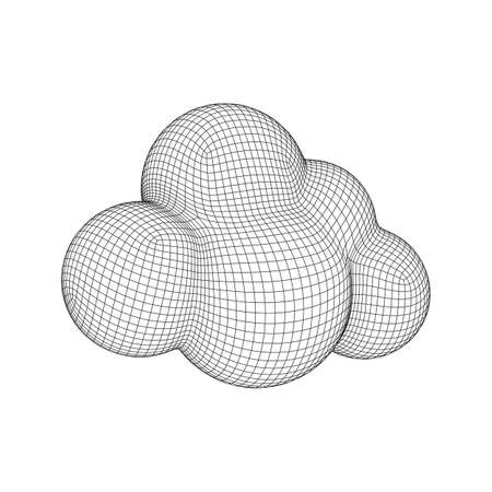 Concept of cloud computing service technology. Wireframe low poly mesh vector illustration