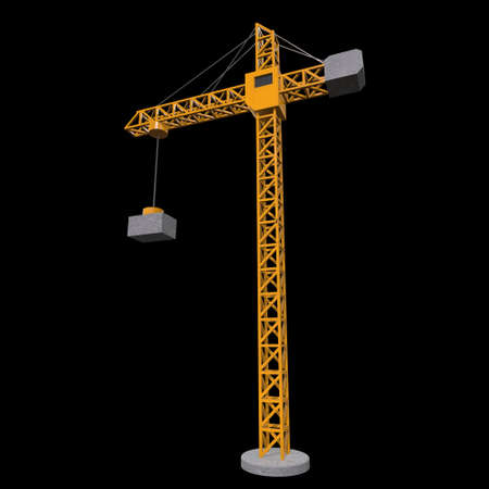 Tower construction building crane. 3d render low poly isolated on white background Banco de Imagens - 131700151