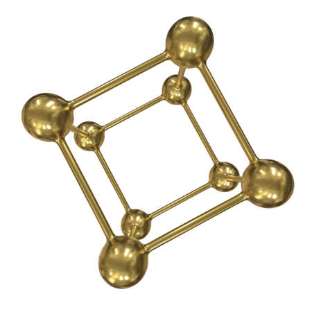 Gold Molecule Grid. Connection Structure. 3d render illustration isolated on white background. Science and medical healthcare concept Imagens - 131700153