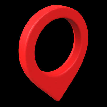 Geo map pin mesh. Place symbol GPS pictogram. 3d render illustration on black background Stock Photo