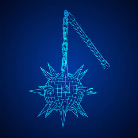 Medieval chained mace ball. Wireframe low poly mesh vector illustration. Vettoriali