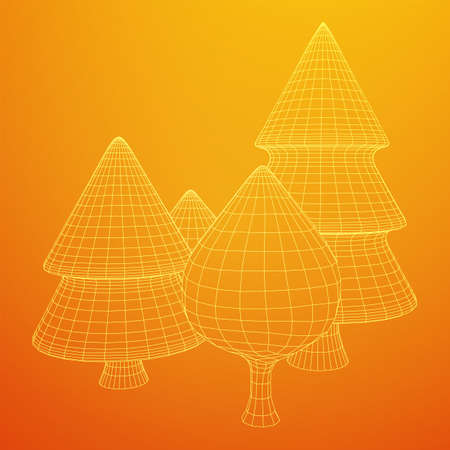 Mesh image of trees. Low poly background. Eco vector. Wireframe low poly mesh vector illustration