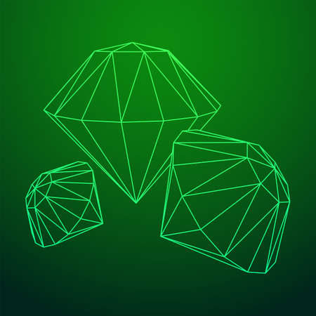 Diamond wireframe low poly mesh vector illustration.