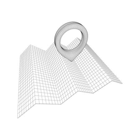 Geo map pin with folding map. Place symbol GPS pictogram. Wireframe low poly mesh vector illustration
