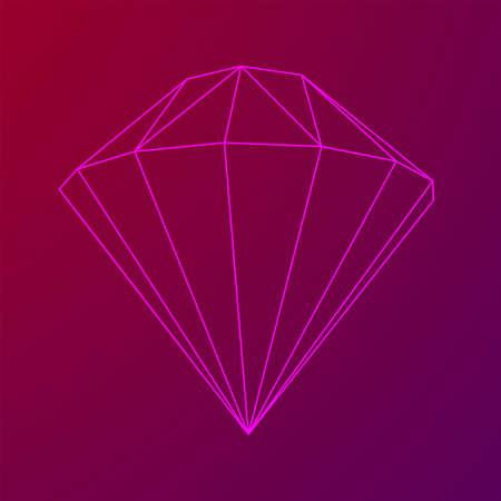 Diamond wireframe low poly mesh vector illustration. Иллюстрация