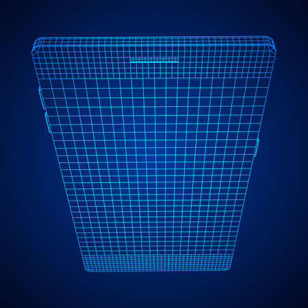 Smartphone mobile touch screen display. Polygonal geometric design connected lines. Wireframe low poly mesh vector illustration. Archivio Fotografico - 132120144