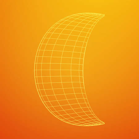 Crescent moon. Abstract polygonal wireframe moon illustration. Night symbol. Arabic islamic muslim ramadan design Illusztráció