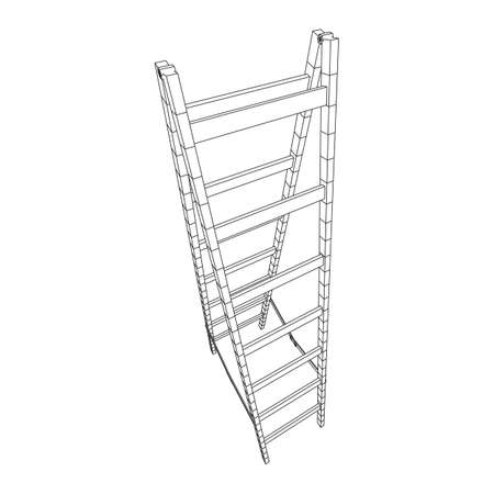 Step ladder. Wireframe low poly mesh vector illustration