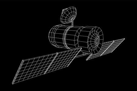 Space station communications satellite. Wireframe low poly mesh vector illustration. Archivio Fotografico - 132329031