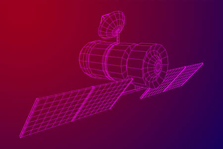 Space station communications satellite. Wireframe low poly mesh vector illustration. Фото со стока - 132502973