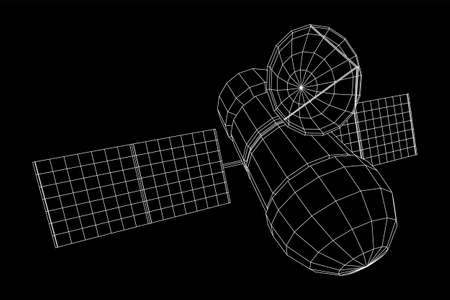Space station communications satellite. Wireframe low poly mesh vector illustration. Фото со стока - 132564578