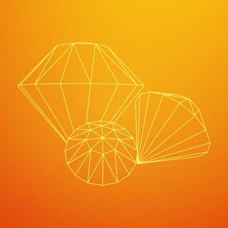 Diamond wireframe low poly mesh vector illustration. Illustration