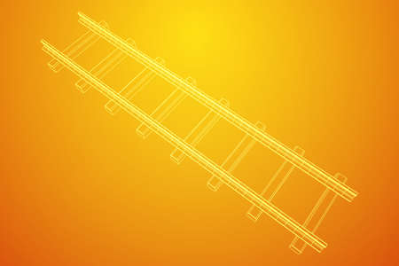 Straight rails. Railway wireframe low poly mesh vector illustration