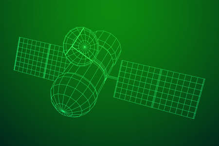 Space station communications satellite. Wireframe low poly mesh vector illustration. Reklamní fotografie - 132639467