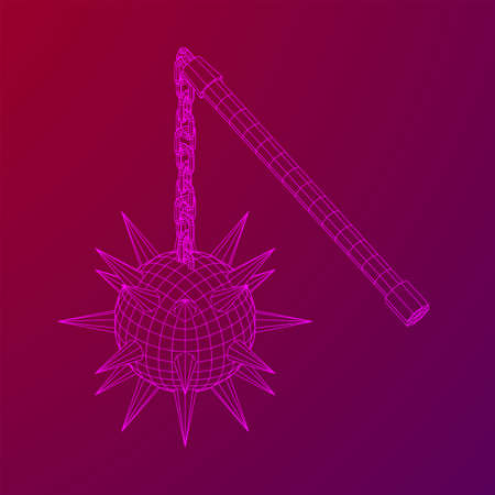 Medieval chained mace ball. Wireframe low poly mesh vector illustration. 写真素材 - 132695959