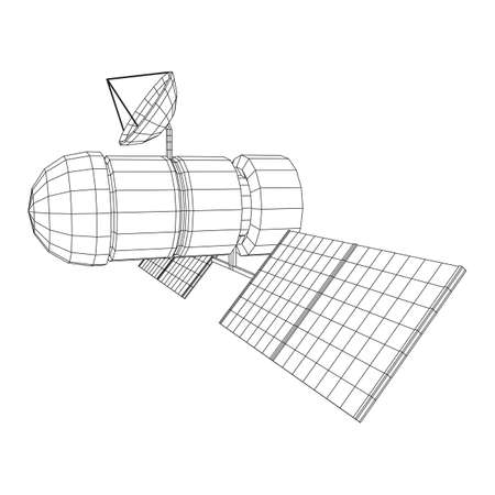 Space station communications satellite. Wireframe low poly mesh vector illustration. Фото со стока - 132882326