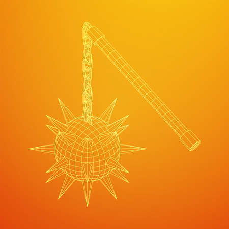 Medieval chained mace ball. Wireframe low poly mesh vector illustration. Иллюстрация
