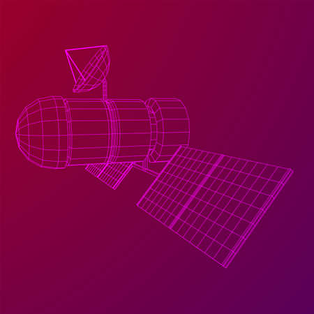 Space station communications satellite. Wireframe low poly mesh vector illustration. Фото со стока - 133290028