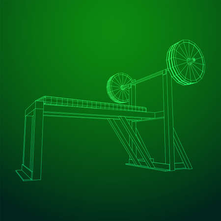Barbell with weights. Gym equipment. Bodybuilding, powerlifting, fitness concept. Wireframe low poly mesh vector illustration.