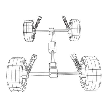 Chassis steering rack. Wireframe low poly mesh vector illustration. Auto service repair car concept. Ilustrace