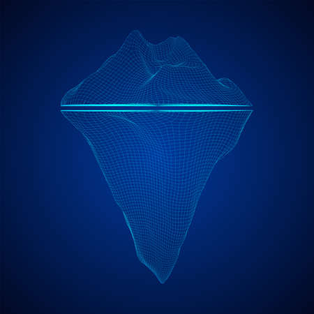 Iceberg abstract modern business background with lines. Wireframe low poly mesh vector illustration