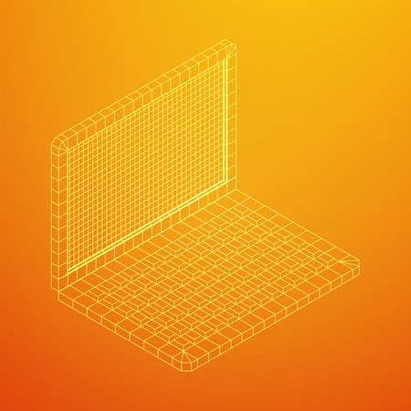 Laptop Abstract Mesh Background. Design computer. Wireframe low poly mesh vector illustration