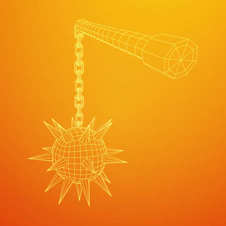 Medieval chained mace ball. Wireframe low poly mesh vector illustration. Illustration