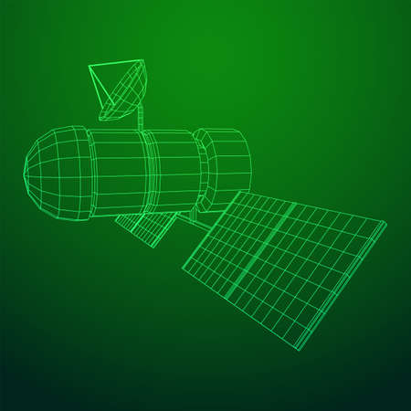 Space station communications satellite. Wireframe low poly mesh vector illustration. Фото со стока - 133395440