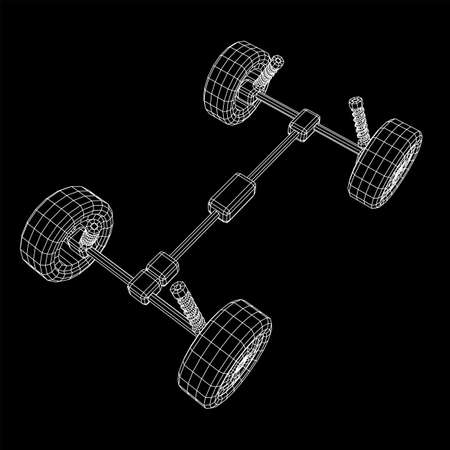 Chassis steering rack. Wireframe low poly mesh vector illustration. Auto service repair car concept. Reklamní fotografie